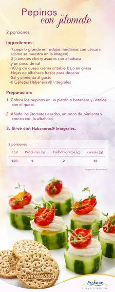 Celebra este 15 de septiembre con esta deliciosa opción de aperitivo: pepinos con queso y jitomate que son refrescantes, originales y llenos de colores patrios. ¡Compártenos tu foto cuando los prepares! #RecetaHabaneras.