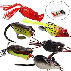 Sougayilang Fishing Lures Topwater Spoons Soft Lifelike Swimbaits Fishing Tackle Lures Kits  https://fishingrodsreelsandgear.com/product/sougayilang-fishing-lures-topwater-spoons-soft-lifelike-swimbaits-fishing-tackle-lures-kits/  HIGH QUALITY – Topwater frogs, rat duck tortoise design fishing Lures with high quality components, a soft hollow body construction. SIZE AND COLOR – Length: from 1.97-4.13in. Weight: from 0.14-0.49oz as shown in the photo. different siz