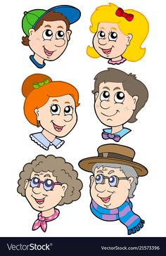 Family faces collection vector image on VectorStock Family Clipart, Teacher Stickers, Family Picnic, Family Images, Family Crafts, Preschool Activities, Coloring Books, Character Design, Creations