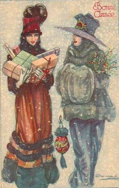 Happy New Year - Gelukkig Nieuwjaar - Bompard postcard