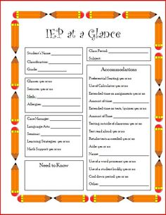 Pragmatic checklist and iep objectives for middle school for Iep at a glance template