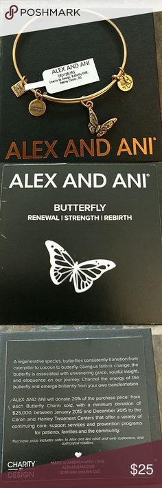 """ALEX AND ANI BRACELET """"BUTTERFLY"""" ALEX AND ANI BRACELET """"BUTTERFLY"""". CHARITY BY DESIGN. EXPANDABLE WIRE BANGLE. RAFAELIAN GOLD. NWT. COMES WITH BOX. Alex & Ani Jewelry Bracelets"""