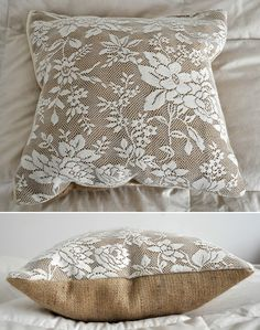Lace and burlap Sewing Pillows, Diy Pillows, Decorative Pillows, Cushions, Throw Pillows, Shabby Chic Pillows, Burlap Crafts, Fabric Crafts, Sewing Crafts
