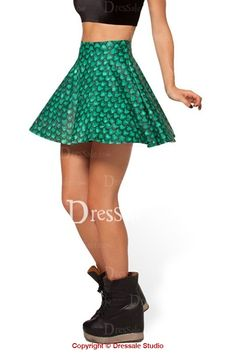Hottest Green Fish Scale Pattern Slimming Elastic Skirt