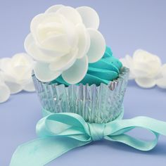 White Wafer Flower On Cupcake