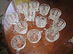"""EAPG 1890 George Dunkin & Sons """"Clover"""" Daisy & Button 15 Paneled Punch Cups  $149.99"""