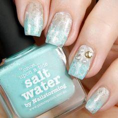 Beach nails inspired by @elleandish  Polish used: @picturepolish Salt Water & Cherish, @essiepolish Blanc, @opi_products My Favorite Ornament , nail art by Betternailday.