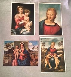 #Vintage #Postcards Lot of 4 LA #MADONNA Bellini Raphael Murillo #Italy #Art Unposted