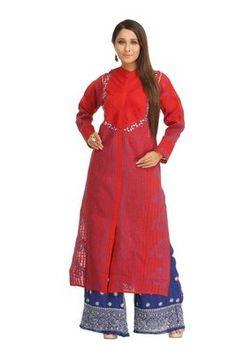 Hand Embroidered Red Cotton Lucknow Chikankari Kurti  Red Kurtis, Red Colour Kurtis, red designer kurtis, kurtis in red colour