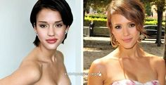 Celebrity Jessica Alba before and after images, plastic surgery Rhinoplasty - nose job, celeb nosejob images