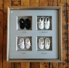 Ideas for Heirloom and Vintage Baby Clothes on The Gracious Posse Shadow Box Baby, Diy Shadow Box, Shadow Box Frames, Memory Crafts, Baby Crafts, Diy Gifts, Handmade Gifts, Baby Frame, Glass Printing