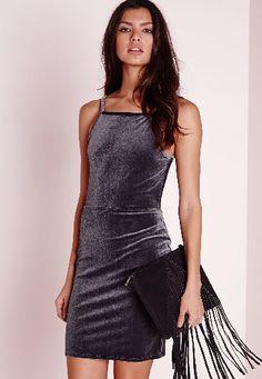 Velvet Strappy Open Back Bodycon Dress Grey, Grey Missguided