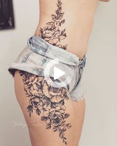 Lower Belly Tattoos, Hip Thigh Tattoos, Floral Thigh Tattoos, Dope Tattoos, Tattoos For Guys, Tattoo Floral, Tatoos, Side Hip Tattoos, Stomach Tattoos