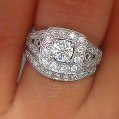 Incredible 14k white gold VS-SI1 .96 Diamond Halo engagement ring set(.44 center) and 1 custom band 6, $795.00