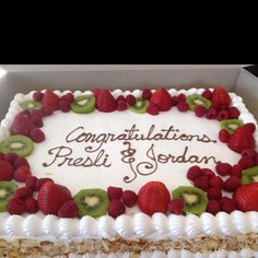 Graduation cake with fresh fruit