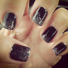 Black with silver ombré #nails #gels