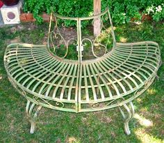 1/2 Round Tree Bench/Plant Stand 30.5 High- Wrought Iron - Antique Green Finish #serendippity #Contemporary