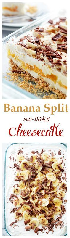 Banana Split No-Bake Cheesecake | http://www.diethood.com | Graham Cracker Crust topped with a creamy cheesecake mixture, vanilla pudding, pineapples, bananas and whipped cream. The perfect dessert for potlucks! | #dessert #cheesecake