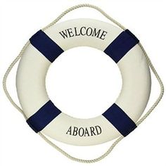 """Amazon.com: LEPIN Welcome Aboard Cloth Life Ring Navy Accent Nautical Decor 13.5"""" New - Decoration Only Blue: Home & Kitchen"""
