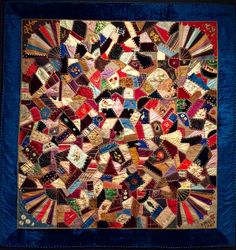 Telling Stories Through the Needle's Eye: American Crazy Quilt Exhibit at the Baltimore Museum of Art Crazy Patchwork, Patchwork Patterns, Quilt Patterns Free, Antique Quilts, Vintage Quilts, Crazy Quilt Stitches, Crazy Quilting, Crazy Quilt Tutorials, Whole Cloth Quilts