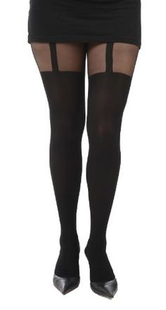 6b8d20c9ae63b PLUS SIZE TIGHTS · 40 Denier Opaque Leg with 20 Denier Sheer Black Top with  Mock Strap One Size Fits