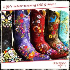Stand out from the crowd! in OldGringo western fashion cowgirl boots in amazingly beautiful and detailed embroidery
