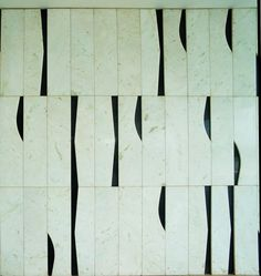 Inspired by Oscar Neimeyer - tiles - pattern - geometric - wall - mural - black - white - distorted shapes darkroomlondon.com/
