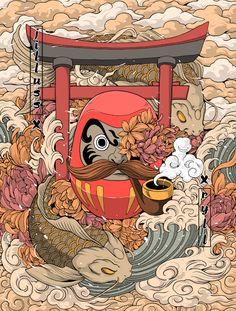 Japanese Tattoo Art 73361 Daruma surf on Behance Japanese Pop Art, Japanese Art Prints, Japanese Artwork, Japanese Tattoo Art, Traditional Japanese, Japanese Folklore, Japanese Culture, Japon Illustration, Japanese Illustration