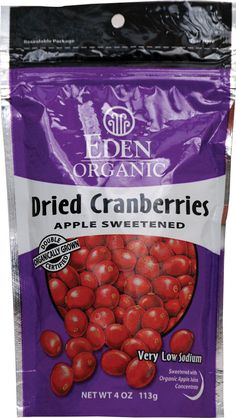Finally found some without SUGAR!  Eden Foods Double Organic Dried Cranberries Sweetened with Apple Juice