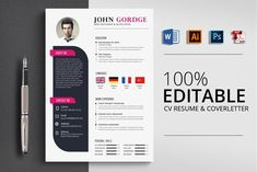 Job CV Resume Word by Psd Templates on Resume Design Template, Best Resume Template, Cv Template, Psd Templates, Design Templates, Print Templates, Resume Words, Resume Writing, Resume Tips