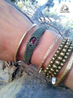 Handmade macramé bracelet  Carnelian cabochon  by byLaughingBuddha