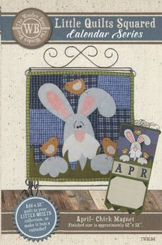 Little Quilts Squared Calendar Series Pattern 4 April Chick Magnet by The Wooden Bear