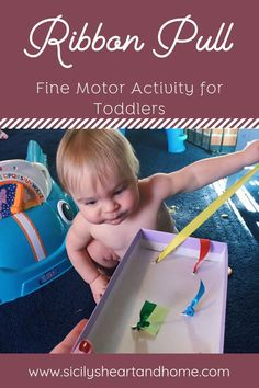 This ribbon pull is a fun toddler fine motor activity and super simple to set up. Get those little 1 year old or 2 year old fingers moving. What better way to get little fingers moving than with a ribbon pull. A great activity for fine motor skills. Toddler Fine Motor Activities, Activities For One Year Olds, Motor Skills Activities, Montessori Activities, Infant Activities, 1year Old Activities, 1 Year Old Games, Baby Room Activities, Baby Wallpaper