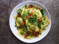 Ravioli with Spring Peas and Prosciutto Recipe   SAVEUR