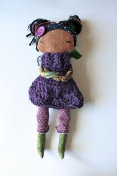 "natural pixie little lu doll 12"" waldorf inspired natural fiber doll - dark purple woolen dress, black hair, cloth doll, rag doll, polka dot..."