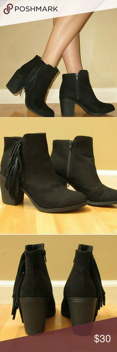 ❣Black Faux Suede Booties❣ Perfect shoe for a late summer/early fall evening out with friends! Cute boho fringe on the side. Only worn once and in great condition. Comfortable fit, I usually wear size 7.5 and they fit like a glove! They have a 3 inch heal. Feel free to contact me with any questions!  Divided Shoes Ankle Boots & Booties