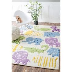 nuLOOM Handmade Kids Animals Ivory Wool Rug (3'6 x 5'6) | Overstock.com Shopping - The Best Deals on 3x5 - 4x6 Rugs