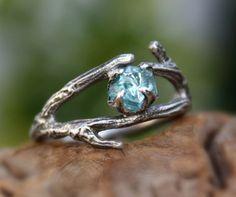 Zircon gemstone ring,branch ring,sterling silver,handmade,rough stone,raw,uncut,December birthstone ring,made to order.