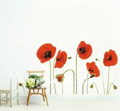 [funlife]- Red Poppy Flowers Decal Wall Stickers art Mural Children Wallpaper (Removable) US $6.99