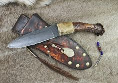 Damascus period skinner. Buckskinner, mountain man, old west, cowboy and indian