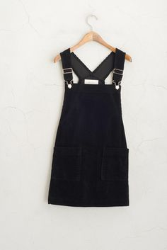 Corduroy Dungaree Dress, Black, fashion, style, cute, preppy, spring