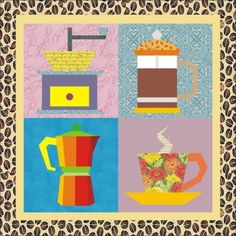 Quilt Pack: 4 paper pieced coffee blocks