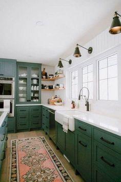 Green Kitchen Cabinets, Farmhouse Kitchen Cabinets, Kitchen Cabinet Colors, Farmhouse Style Kitchen, Modern Farmhouse Kitchens, Home Kitchens, Diy Kitchen, Kitchen Modern, Kitchen Rug