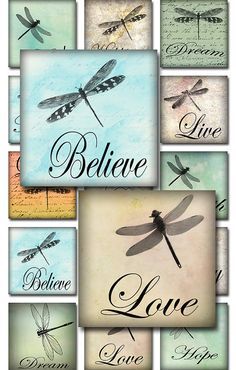 Inspirational Words - Dragonflies on Ephemera - Watercolor - Handmade Paper Backgrounds (A-29D) INSTANT DOWNLOAD! The files are available for download immediately after payment These are self-print digital files ITEM DESCRIPTION: 54 x 1 images 15 x 2 images 90 x scrabble tile size images (.75 x .83) Three (3) pages - 300dpi, jpg format Fits paper size 8.5 x 11 (or A4 international size) when printing These images can be used for scrabble tiles, bottle caps, stickers, necklaces, bracelets,...