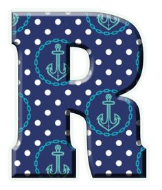 ‿✿..R..✿‿ Nautical Party, Monogram Alphabet, Page Layout, Anchor, Iphone Wallpaper, Coastal, Dots, Clip Art, Ocean