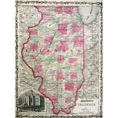 "Johnson 1862 Antique Map of Illinois. This tall map provides a stunning picture of the ""Land of Lincoln"" as it was during the in which Abraham Lincoln was campaigning for the job of President of the United States. Each county is hand painted in differing colors. The roads, railroads, and towns (as they were in 1860) are shown in incredible detail. An engraving of the old courthouse in Chicago is inset. If you are looking for an unusual piece of art, to decorate a home or office, this truly…"