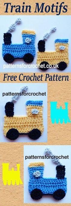 Free crochet pattern for train motif, use on boys outfits, blankets etc. #crochet