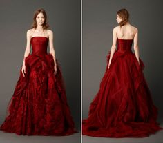 wedding gown by Vera Wang. Prom Dress 2014, Strapless Dress Formal, Designer Wedding Dresses, Wedding Gowns, Wholesale Wedding Dresses, Wine Red Color, Bridesmaid Dresses, Prom Dresses, Bridal Boutique