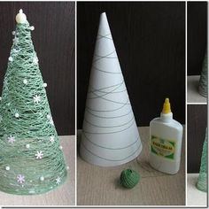 weihnachtsdeko selber basteln tannenbaum papier trichter schnur gruen - List of the most creative DIY and Crafts Cute Christmas Decorations, Diy Christmas Tree, Christmas Projects, Simple Christmas, Christmas Holidays, Christmas Ornaments, Winter Decorations, Green Christmas, Miniature Christmas