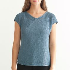 square - I love this short-sleeved, modified v-neck summer sweater incorporating eyelet holes and diagonal lines.